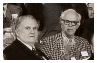 John Shaw with Martin Gardner at the 1977 B.S.I. dinner. (© bsitrust.org, 1977)