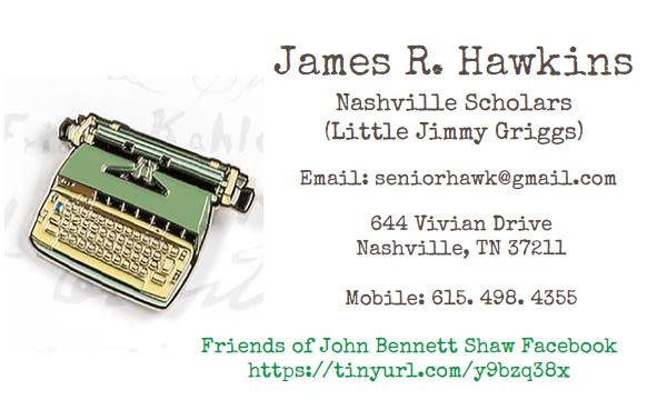 My Sherlockian card typed in Special Elite, the font used by John Bennett Shaw on his Smith-Corona Selectric. Clicking on the card will take you to the Nashville Scholars website.