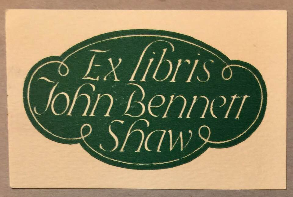 The JBS Bookplate - on thousands of items in his library