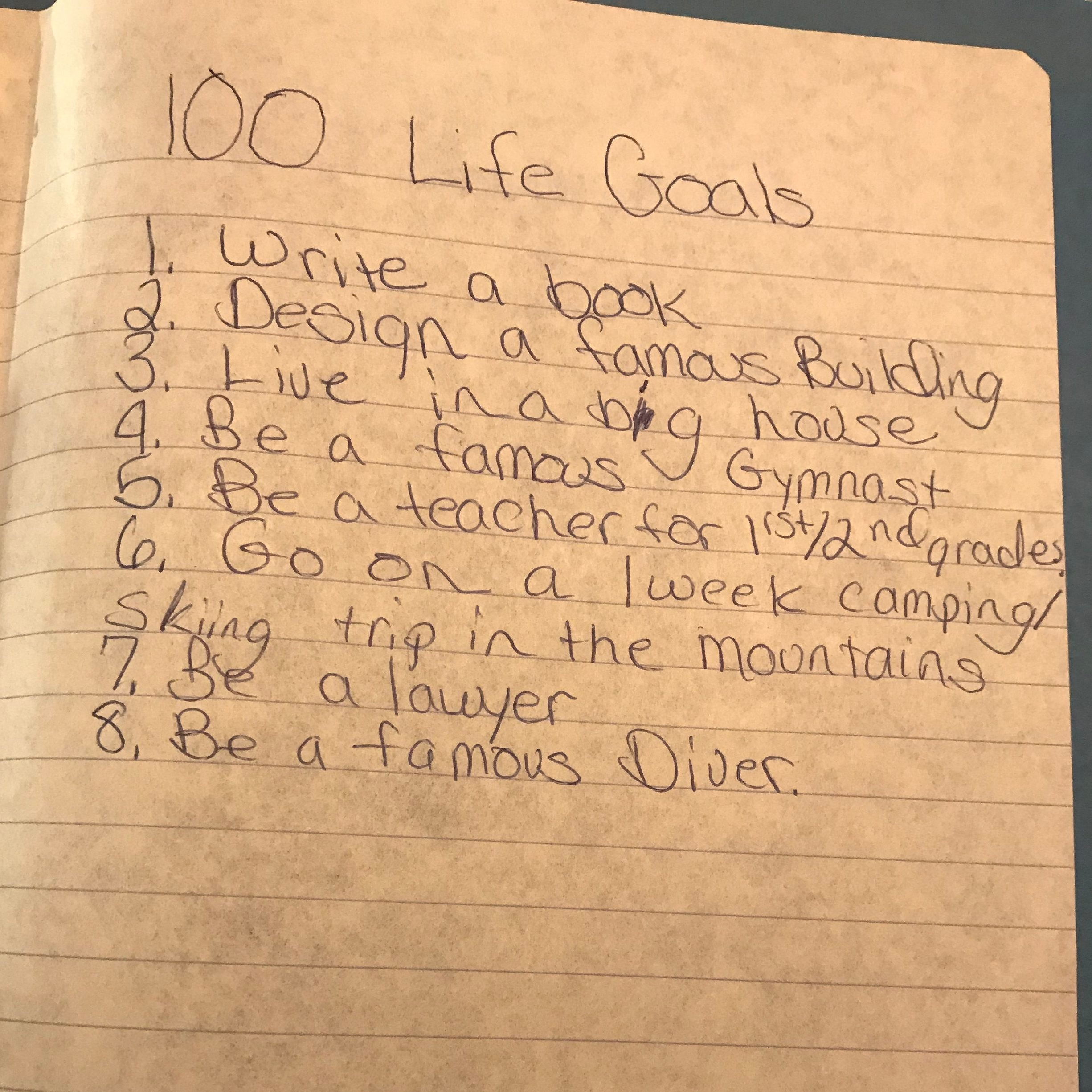 """This is a picture of an actual list I wrote in the 4th grade. I've obviously always been an """"overachiever"""" finishing a mere 8% of the full list (8/100). I do wonder what fear had me stopped at no. 8?  And a big house? I surely meant a tiny house.  Also, I didn't pass the LSAT because I never took it.  No. 1 - that one's still on my list."""