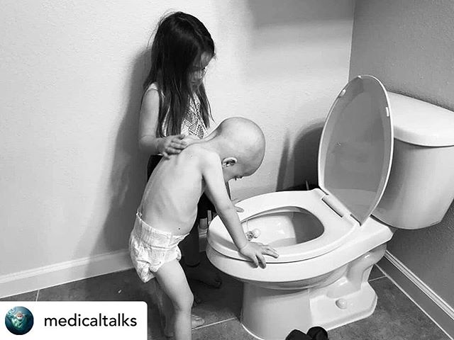 #Repost @medicaltalks  This is worth a million words. ♥️ Picture of a 5-year-old sister comforting and supporting her 4-year-old brother with leukemia struggling with the side effects of chemotherapy shows the heartbreaking effects of childhood cancer on the patient's family!! The Beckett Strong Facebook page posted the picture on September 3 of two siblings, 15 months apart, standing over a toilet as 4-year-old Beckett is sick from his chemotherapy treatments. The mother has shared a number of photos of her children that capture the heartbreaking reality of childhood cancer. On April 25, 2018, Beckett was diagnosed with Acute Lymphoblastic Leukemia. The sister Aubrey watched her brother go from an ambulance to the ICU. She watched a dozen doctors throw a mask over her brother's face, poke and prod him with needles, pump a dozen medicines through his body all while her 4-year-old brother lay there helplessly.  The young girl wasn't sure what was happening but she knew that something was wrong with her little brother and her best friend. After a month in hospital, where Beckett underwent chemo, blood transfusions, and platelet transfusions, he was released from the hospital. His sister watched him struggle to walk and play.  Beckett was no longer lively, energetic and outgoing. He was quiet, sick and very sleepy who never wanted to play. His sister didn't understand how he was able to walk before this but now she sees that he can't stand without help. All of the different therapies Beckett had to go to to get his strength back was confusing to his sister. She didn't see it as a therapy, she saw it as something that he got to do that she didn't.  Beckett vomits between play sessions. He wakes up just to throw up. All the while, Beckett's sister never leaves his side. As Beckett goes from 30 pounds to 20 pounds, she stands next to him, comforts him and supports him. She'd rub his back and tell him it was going to be okay, clean his face up and wash his hands for him. B