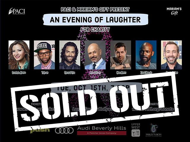 🎟 ANOTHER SOLD OUT EVENT 🎟  Although we had a relatively high price range for the tickets ($50-$200), with your support for this great cause, we sold 270 tickets for @paci.inst's charity event. Thank you to each and every one of you for supporting the cancer society at all times!🎗See you all tomorrow night at @laughfactoryhw 🎭