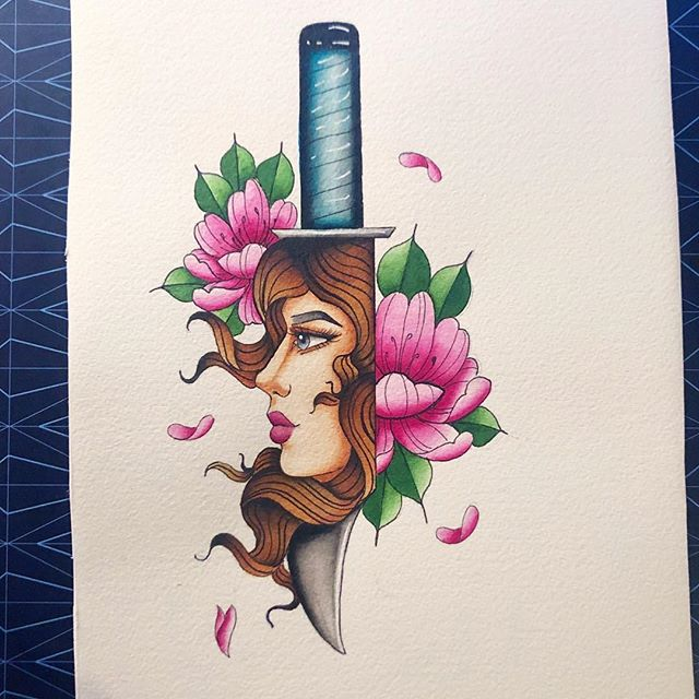 Issa knife ... from a while back. #drawing #sketching #sketchbook #archespaper #painting #knife #girlhead #tattoo #liquitex #ink #watercolor #windsorandnewton #watercolour #flowers #pink #floral