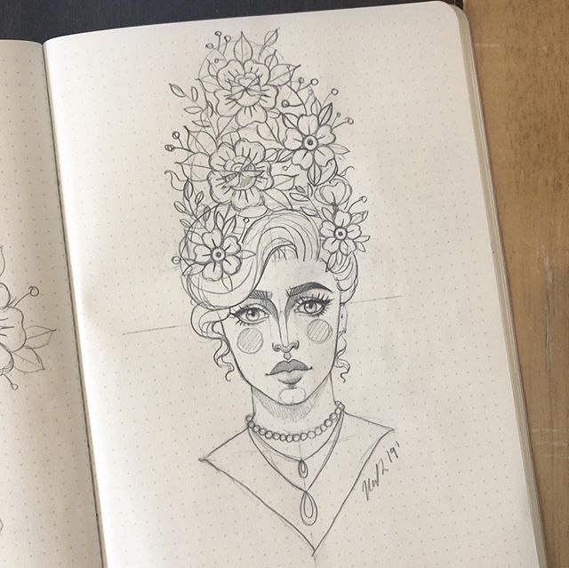 Sketches from the sketchbook! ✏️ #drawing#sketching #sketchbook #sketch #gypsy #girlhead #traditional #rose #flowers #tattoo #pencil #girl #hashtag#pencil #illustration #flowers #baronfig #dotgrid #design #roses #beehive