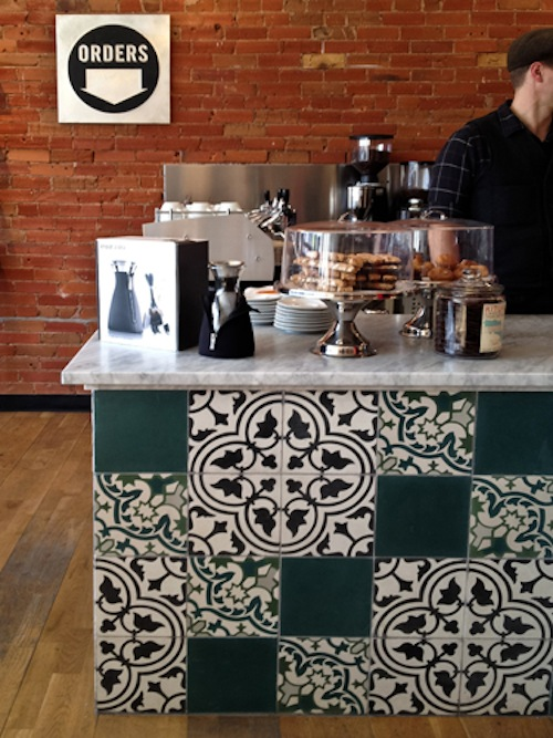 Front counter encaustic tile.