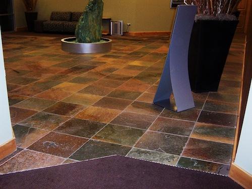 Slate lobby flooring