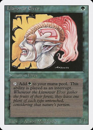 "Revised Edition Llanowar Elves, starring the original ""T for Tap"" symbol"