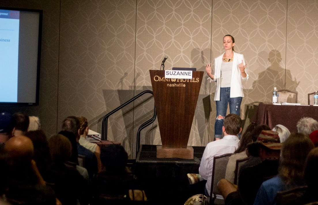 Suzanne Paulinski  speaking at CD Baby DIY Musician Conference at Nashville, TN in August 2018   Courtesy of CD Baby Staff