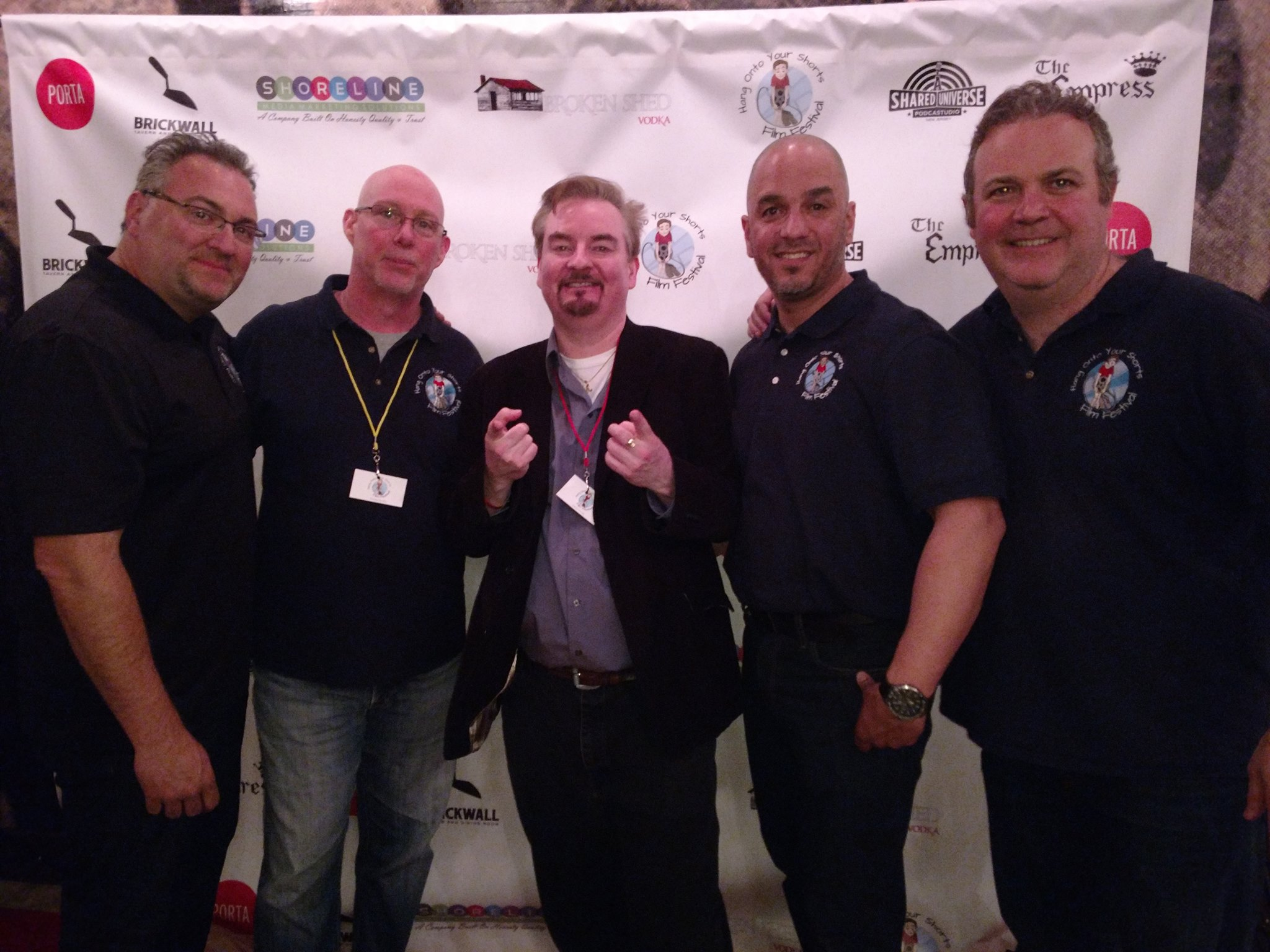 Rich Lello, Brian Kopack, Brian O'Halloran, Hiram Ortiz, Chris Cullen at 'Hang Onto Your Shorts' Film Festival red carpet event. |  Courtesy of HOTYS Film Festival