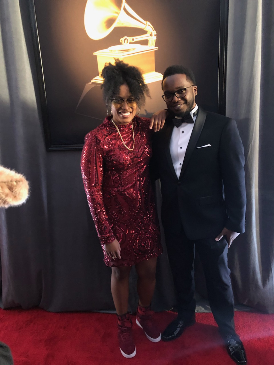 Ayanna Depas and Shamel Hughes attending the Grammy Awards in Los Angeles