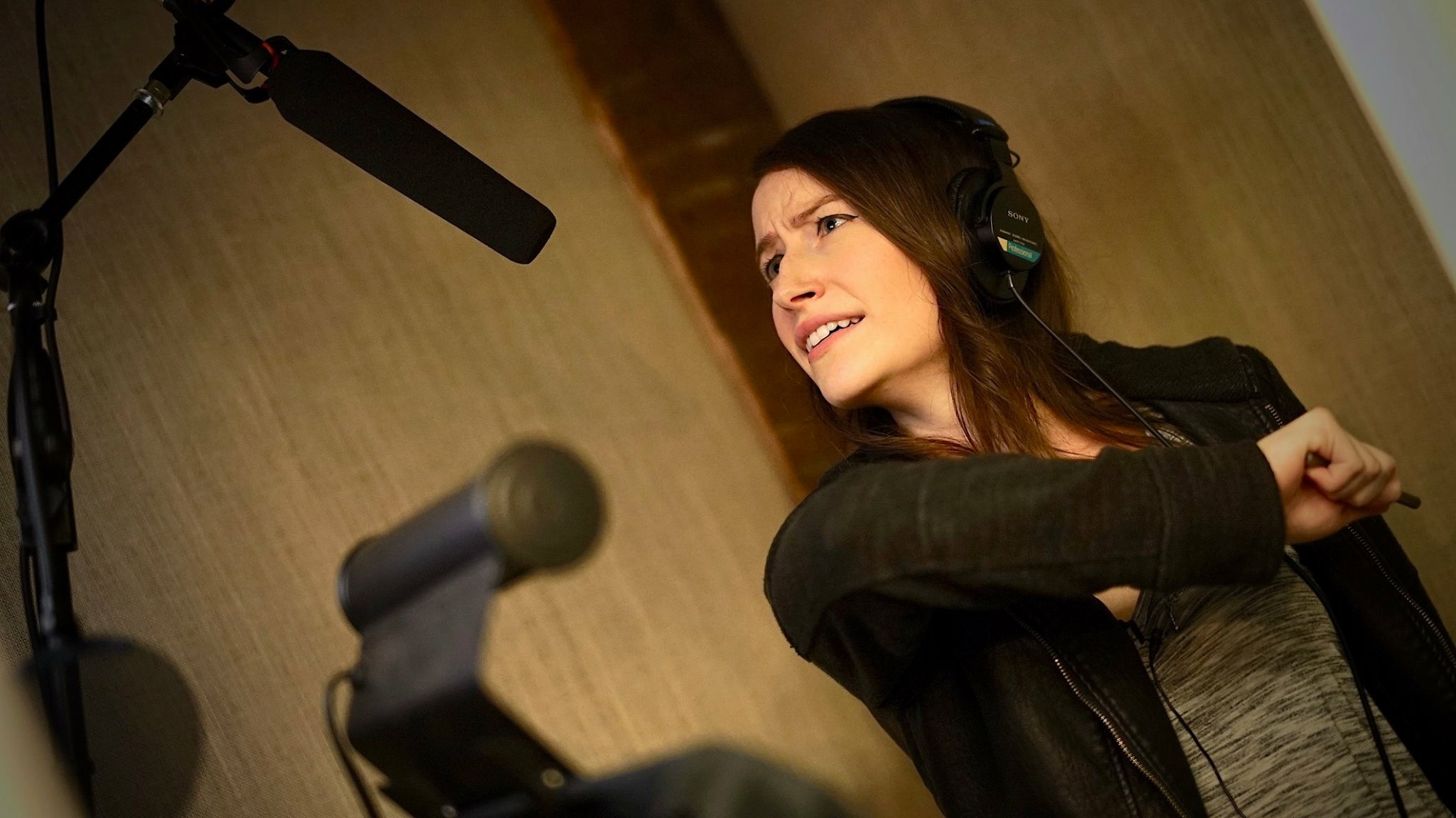 Chloe Carroll recording ADR for The Honeymoon Phase in New York |  Courtesy of Phillip G. Carroll Jr.