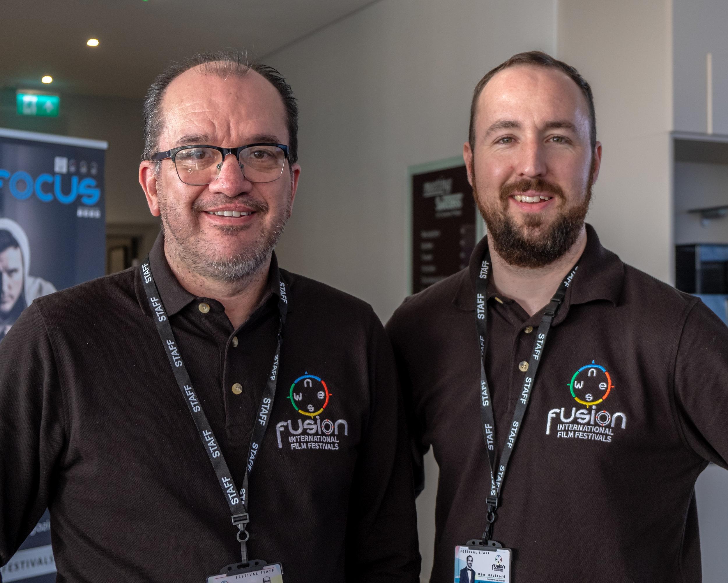 Steve Grossmith and Dan Hickford at the North Europe International Film Festival in London on February 22, 2019    Courtesy of Stuart Watson