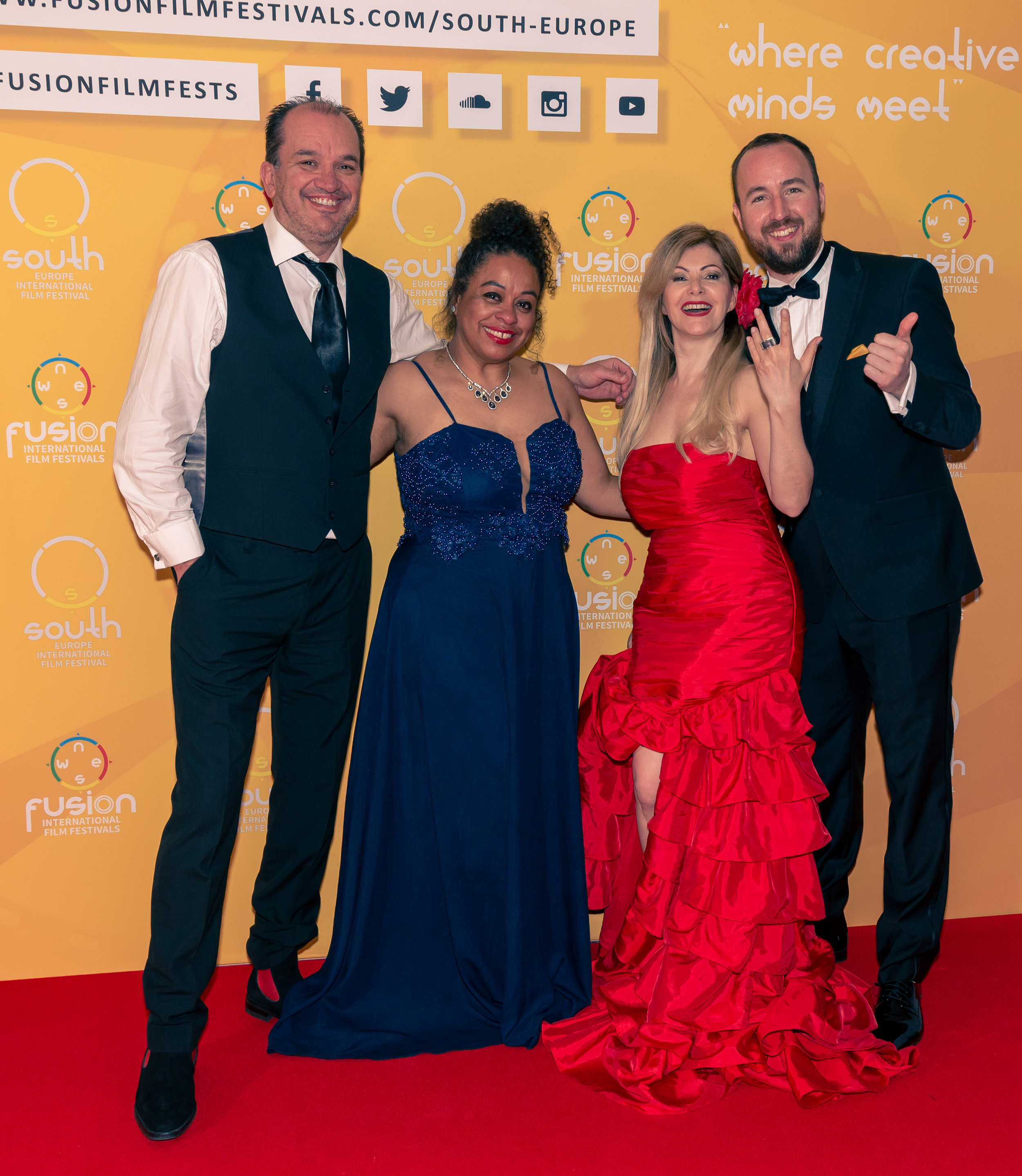 Steve Grossmith, Tania Rodrigues, Hanni Bergesch, and Dan Hickford at the South Europe International Film Festival in Valencia on May 11, 2019    Courtesy of Stuart Watson