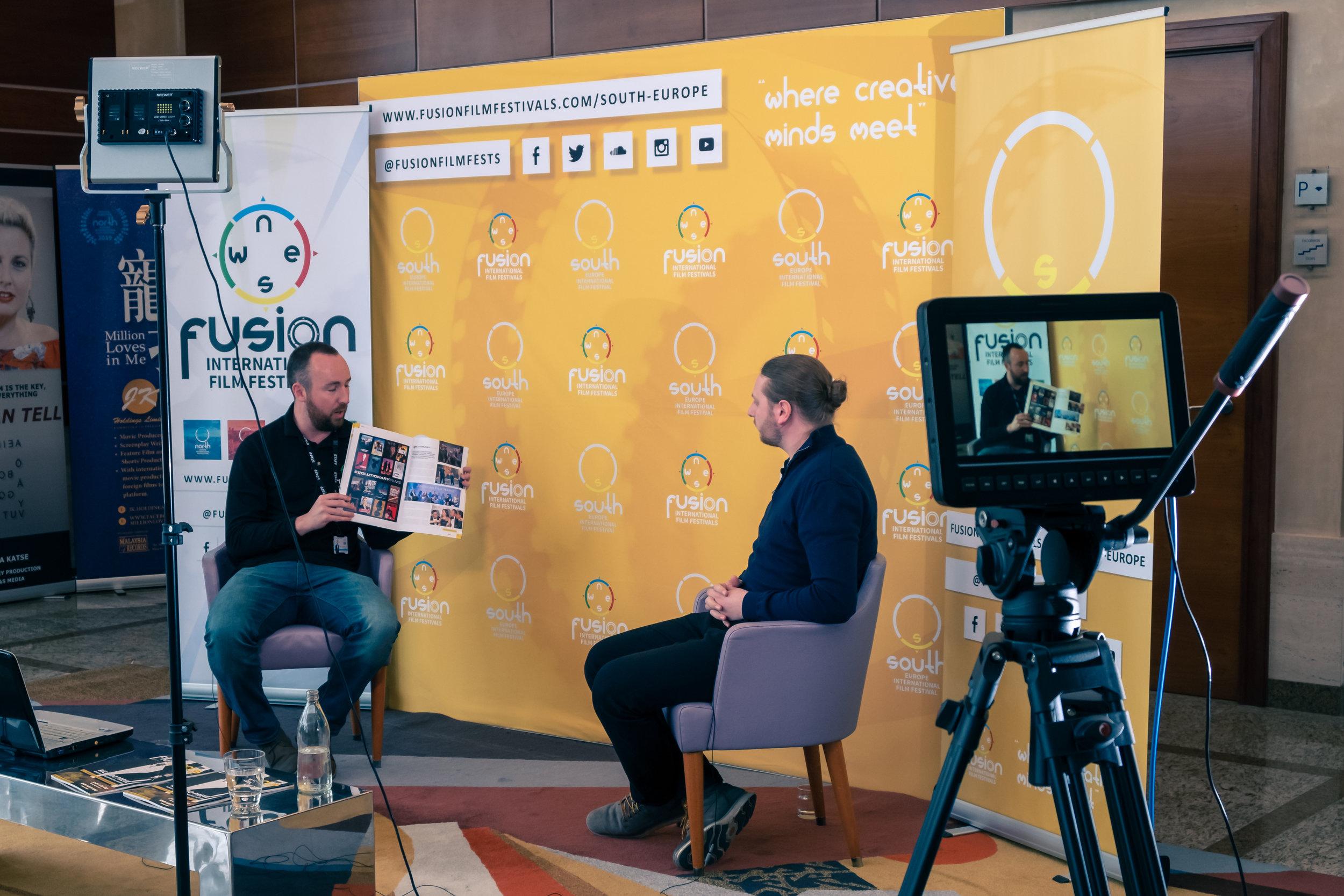 Dan Hickford and Joseph Piddington at the South Europe International Film Festival in Valencia on May 9, 2019    Courtesy of Stuart Watson