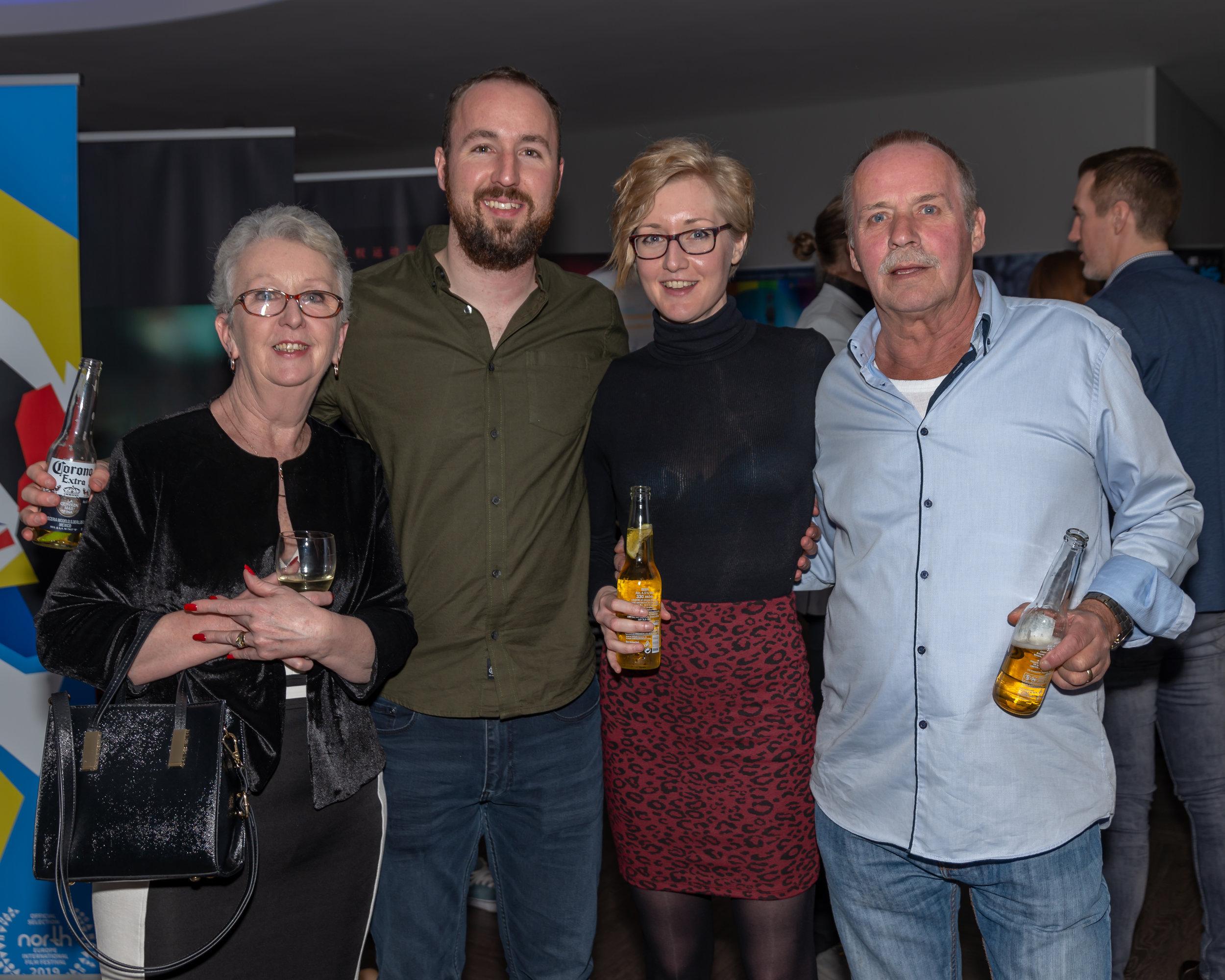 Maureen Hickford, Dan Hickford, Sarah Walkden, and Paul Hickford at the North Europe International Film Festival in London February 22, 2019    Courtesy of Stuart Watson