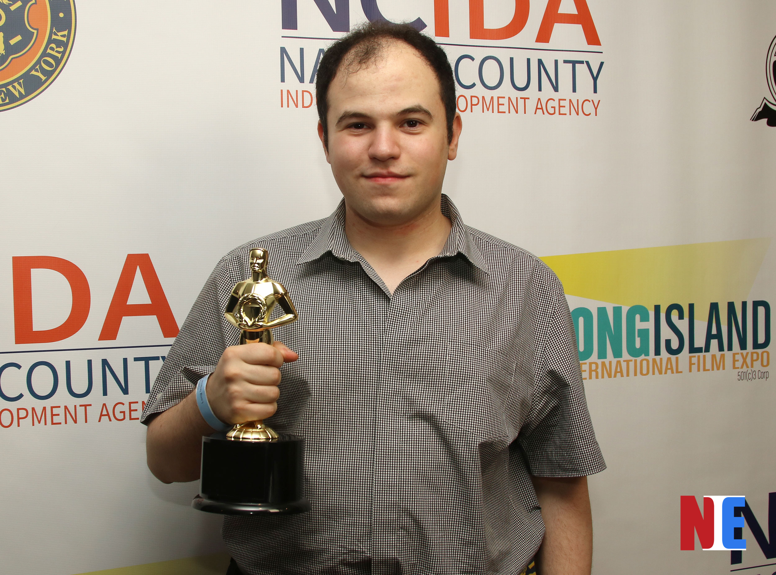 Max Hechtman wins Best Documentary at the red carpet award ceremony of Long Island International Film Expo inside the Bellmore Movies and Showplace on July 18, 2019 |  Courtesy of NIE