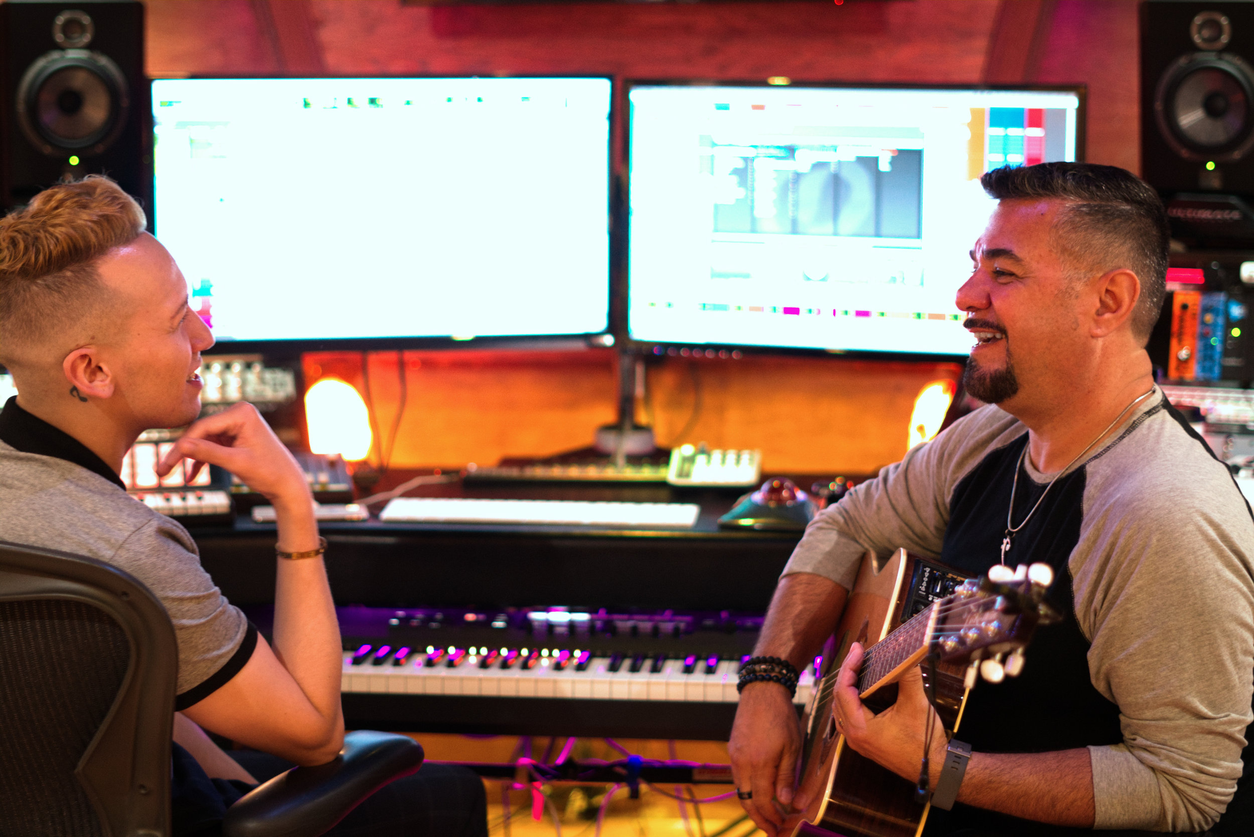 Devin Velez and Eddie Torres in the recording studio on July 2019 |  Courtesy of Jaime Rodriguez