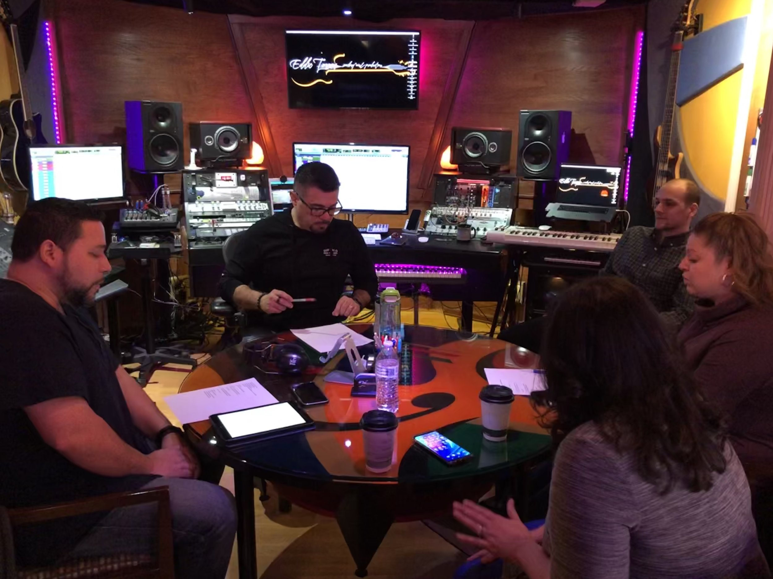 Eddie Torres in the studio with clients for a production |  Courtesy of Eddie Torres