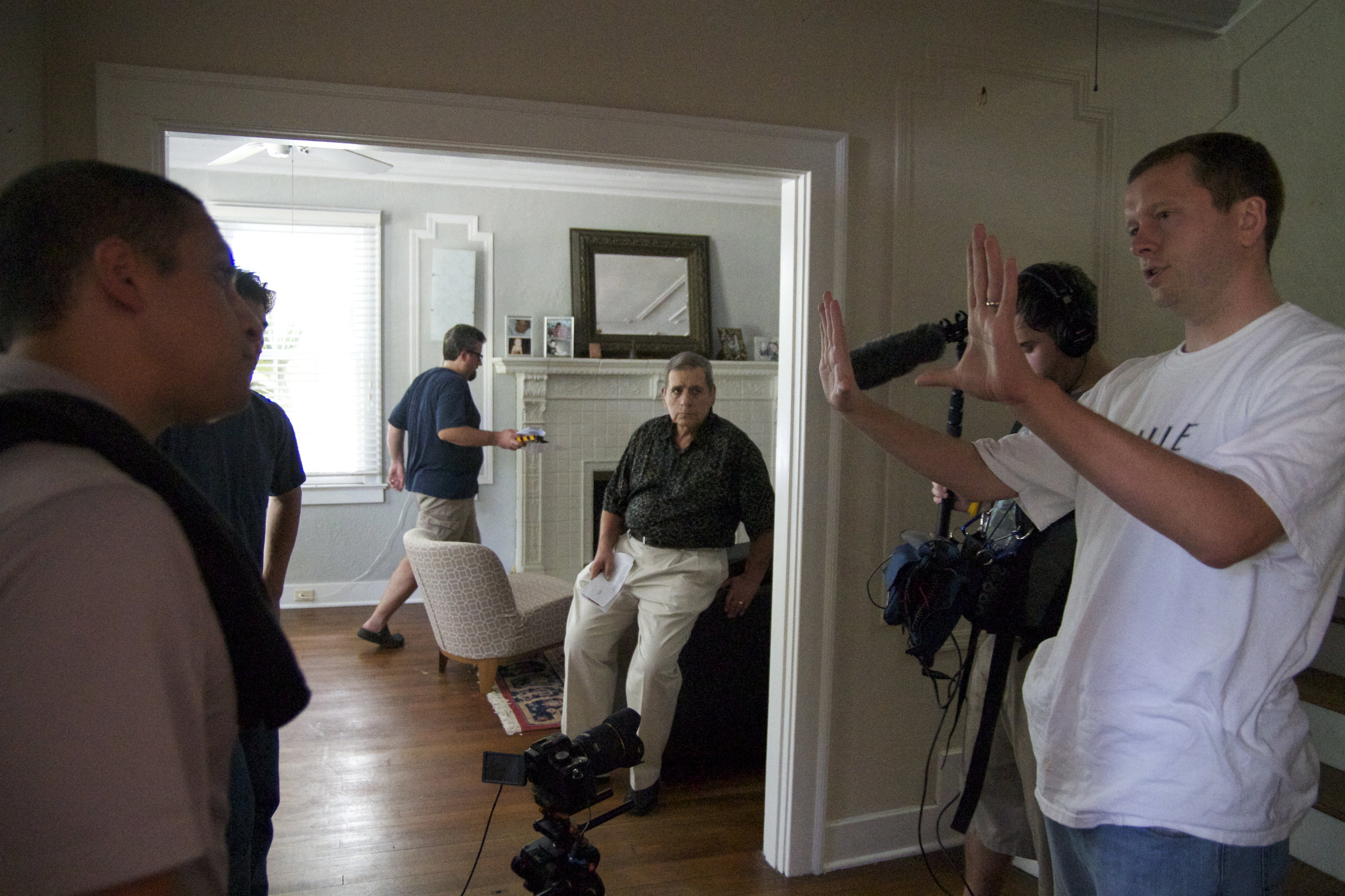 L-R: Sound mixer Jayson Martinez, assistant director Ted Souppa, actor Tony Berry, boom operator Kyle Austin, director Tim Ritter on set for Moment of Truth in 2012    Courtesy of Ashley LaRue