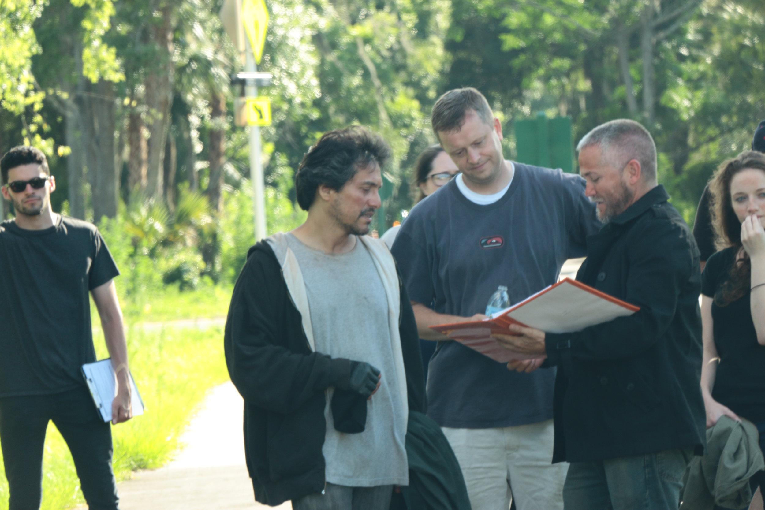L-R: Assistant director Ariel Zengotita, actor Demi Castro, Director Tim Ritter, actors Robb Maus and Rachel Comeau on location for Testament in 2014    Courtesy of Jason Clarke