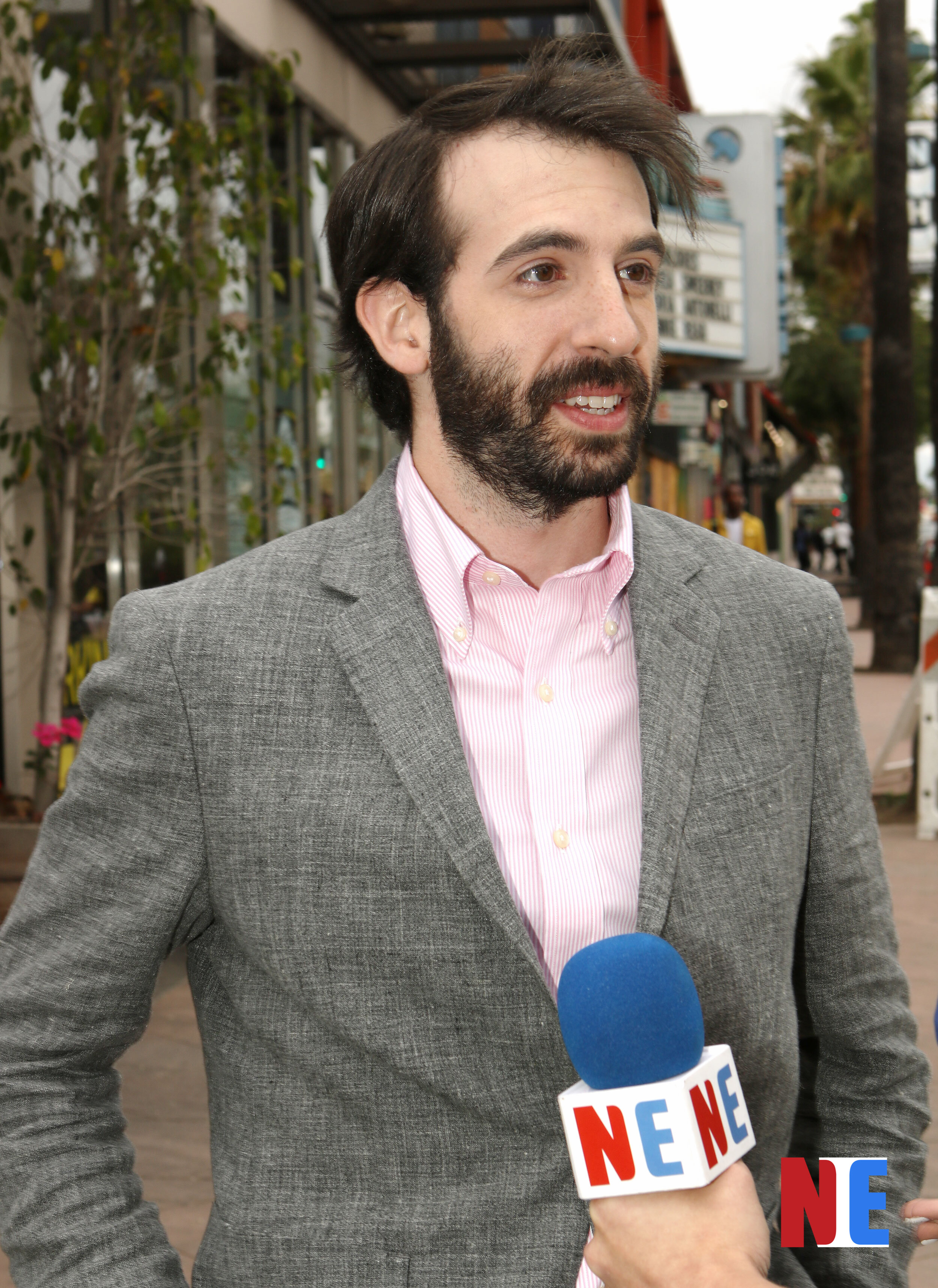 Sean A. Kaufman being interviewed on the streets of Hollywood on June 21, 2019    Courtesy of NIE