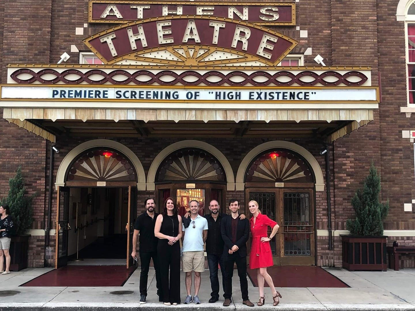 L-R: Wiley Lowe, Sara Humbert, Steve Lane, Fred Zara, Brandon Hofmann, and Erin Laine at the Athen's Theatre |  Courtesy of Fourth Man Productions Facebook