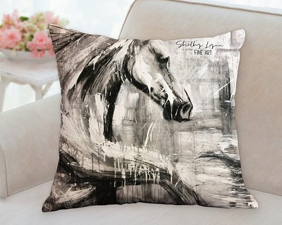 Double-Sided Horse Pillow -