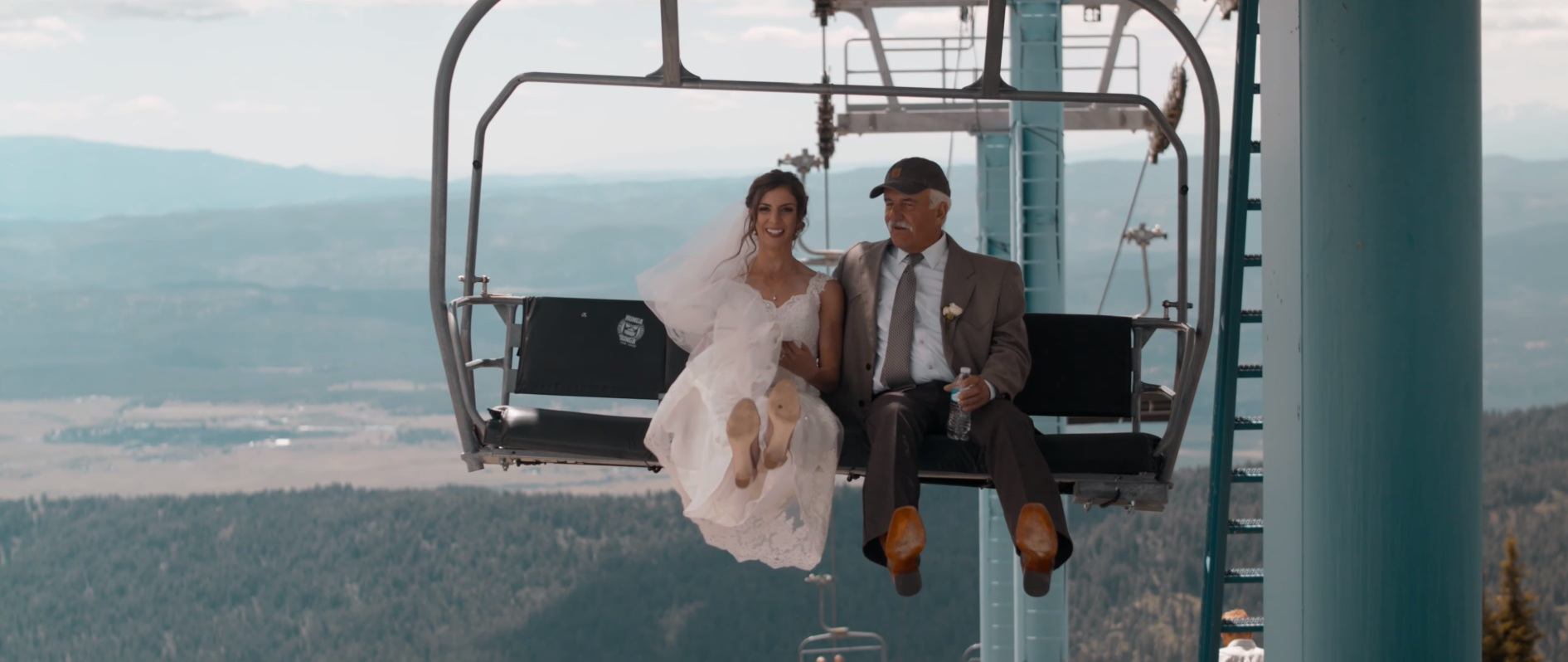 The bride being brought on her steel chariot! Now that's one adventurous ride, a view hundreds of feet in the air!