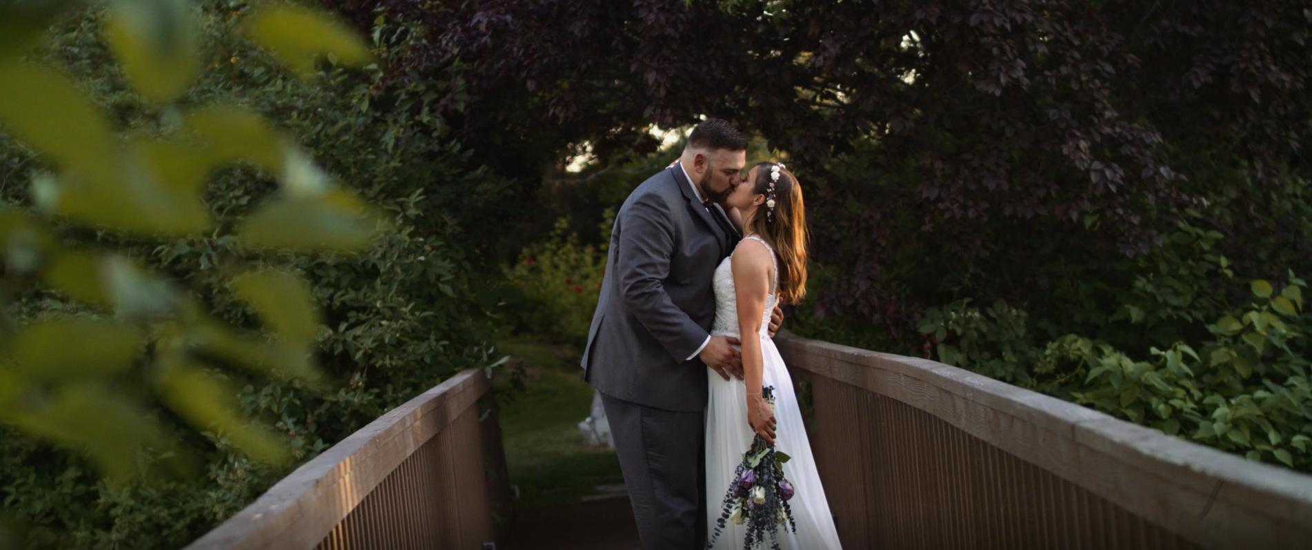 Stolen moments of the bride and groom in the secret garden!