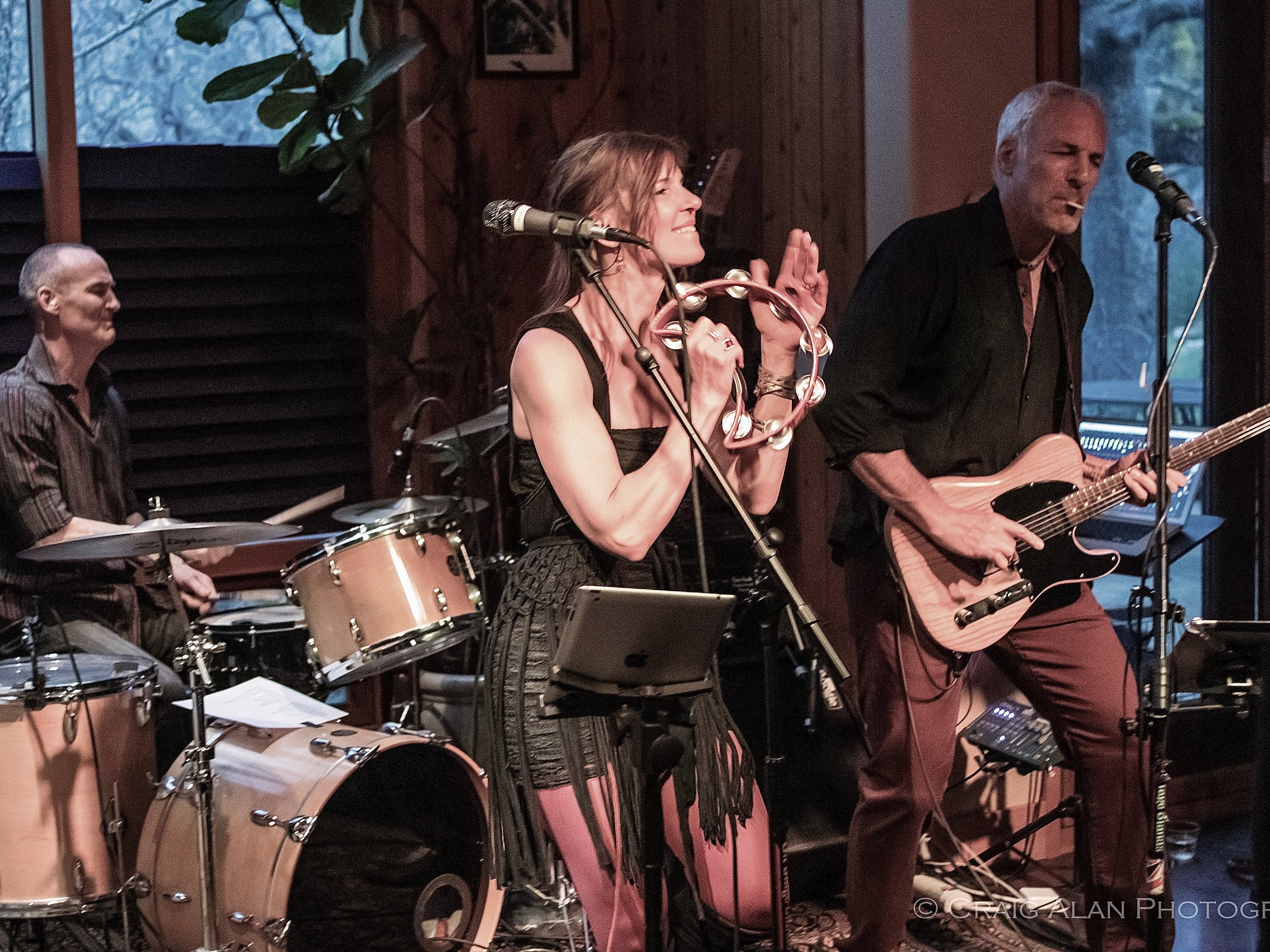 Inger Nova Jorgensen, Jeff Pevar & Matthew Kriemelman with LOVEBITE band at The Stone House. Photo by Craig Alan