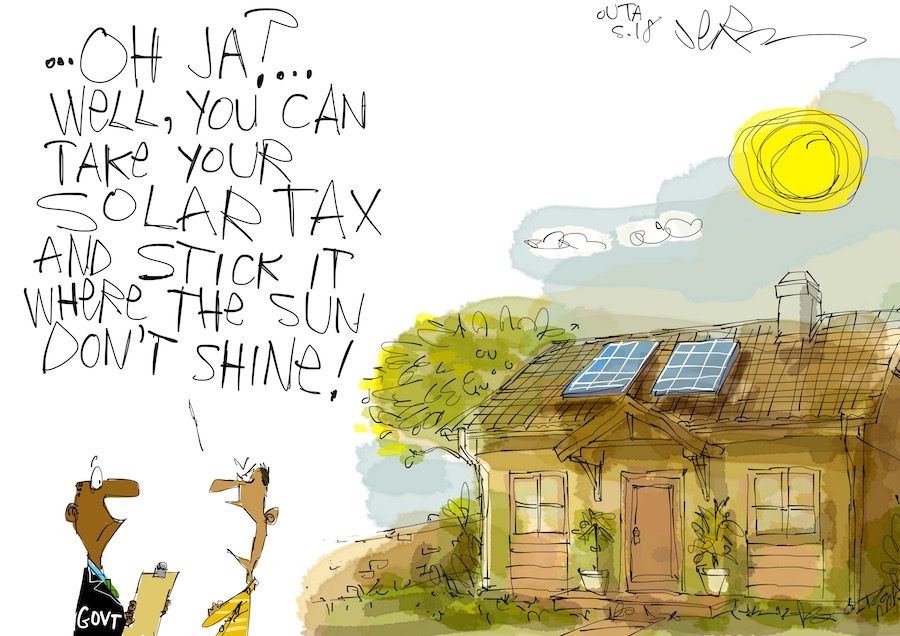 People should not be taxed for getting electricity from the sun.