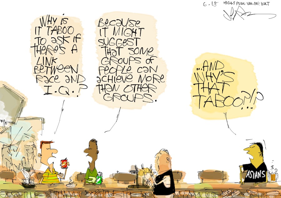 This cartoon pokes fun at the taboo topic surrounding race and IQ. I'm not sure why it's taboo, though.