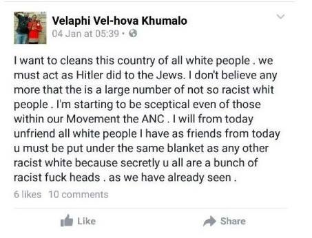 This disgusting Facebook comment by Velaphi Khumalo.was taken legal.
