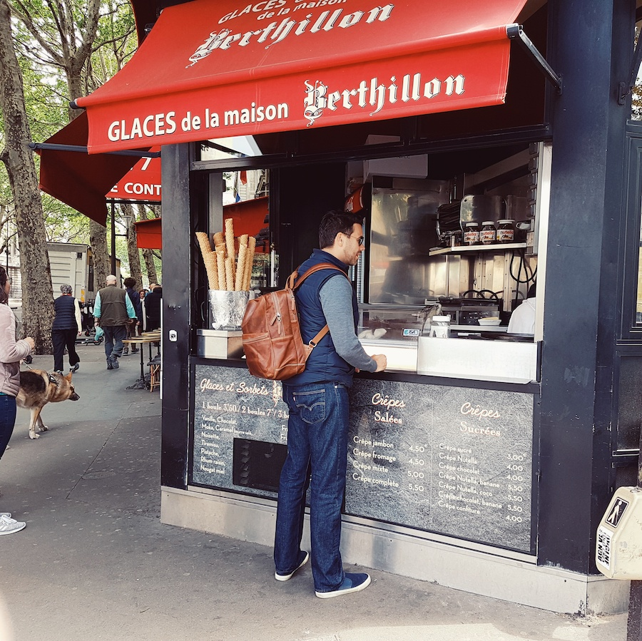 Me, buying something French to eat.