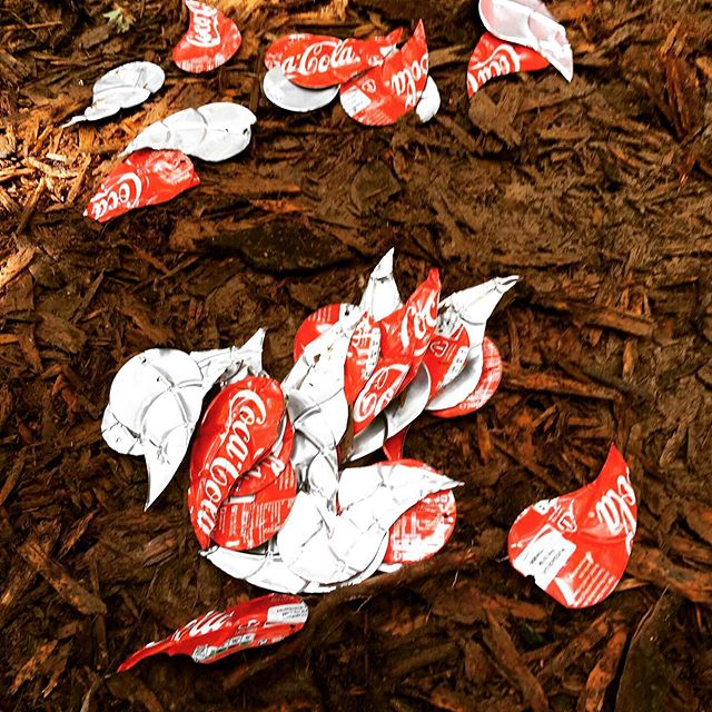 Working on a lovely little installation at All Together Now festival.. making leaves (and trees) out of recycled coke cans. Can't wait to see it lit up at the weekend!