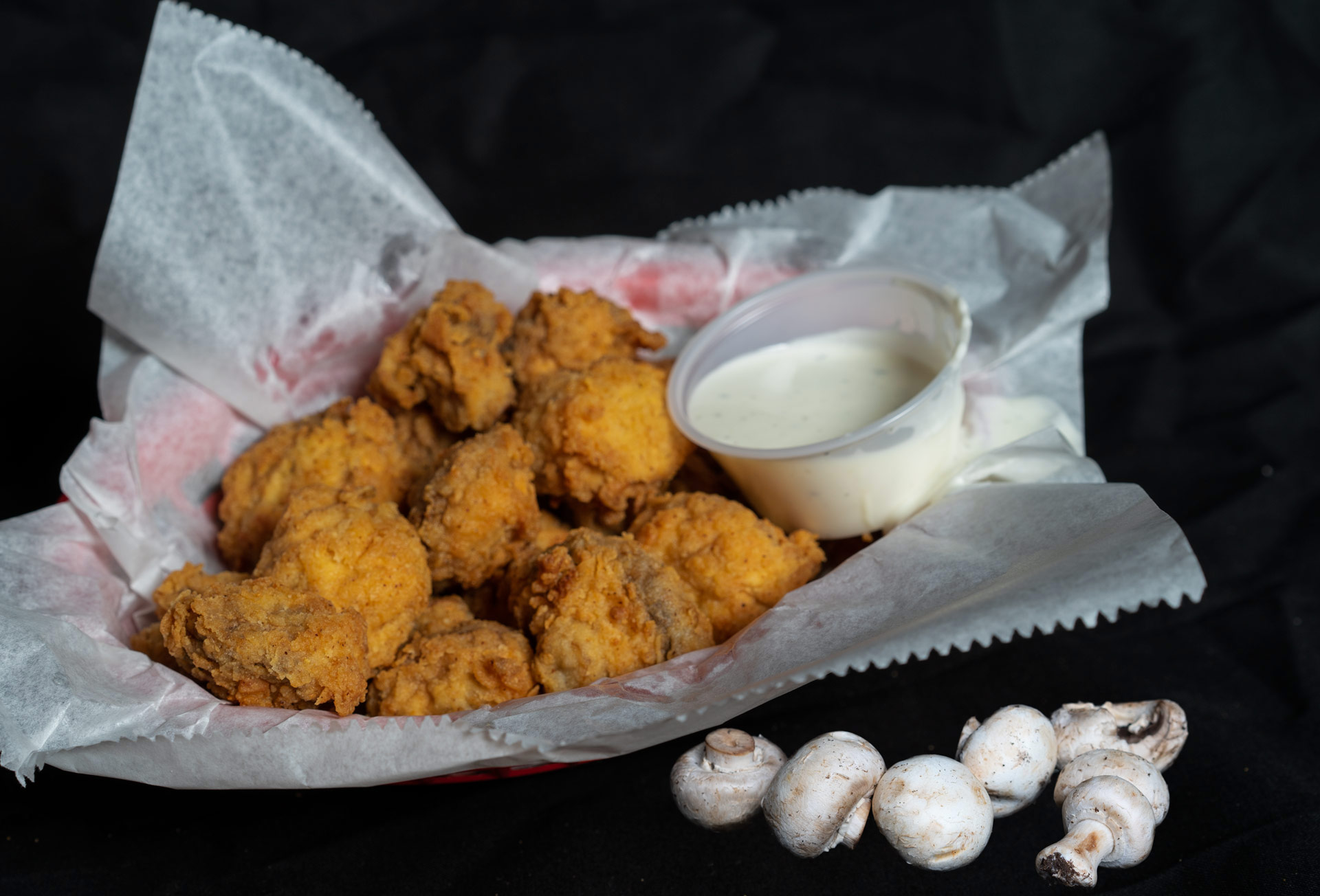 Southern Fried Mushrooms Tender hand breaded whole button mushrooms fried to a golden crisp and served with Ranch dressing. 6.00