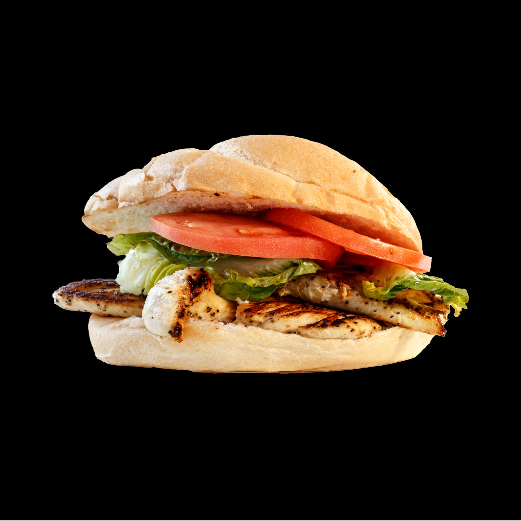 Chicken Sandwich Grilled or fried premium chicken breast, dressed with lettuce, tomato, and onion on a fresh brioche bun. Served with your choice of steak fries, french fries, onion rings, chips, or Texas Toothpicks. 9.00