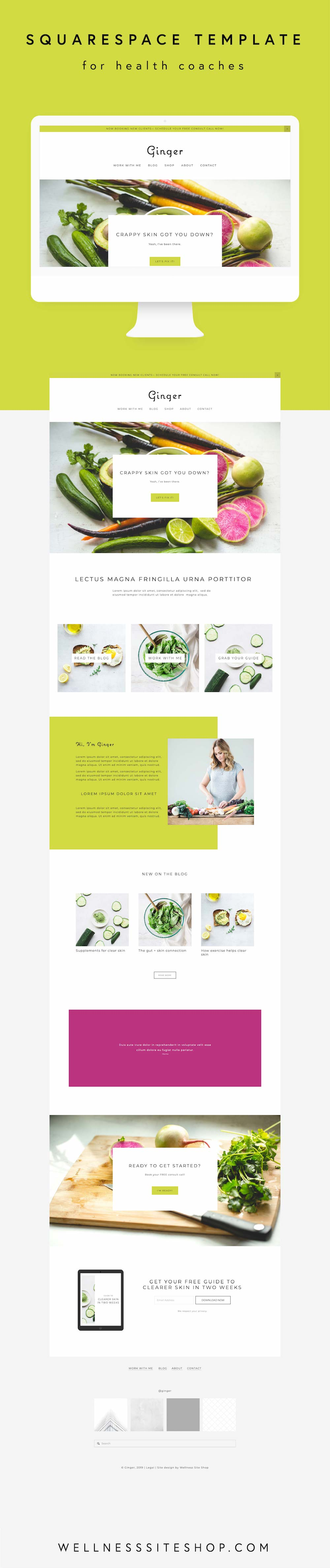 Squarespace template for health coaches