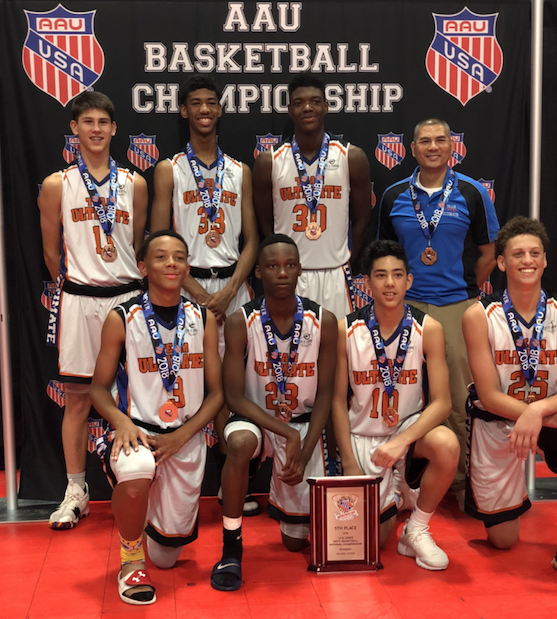 Coach So with his AAU basketball team after winning the championship