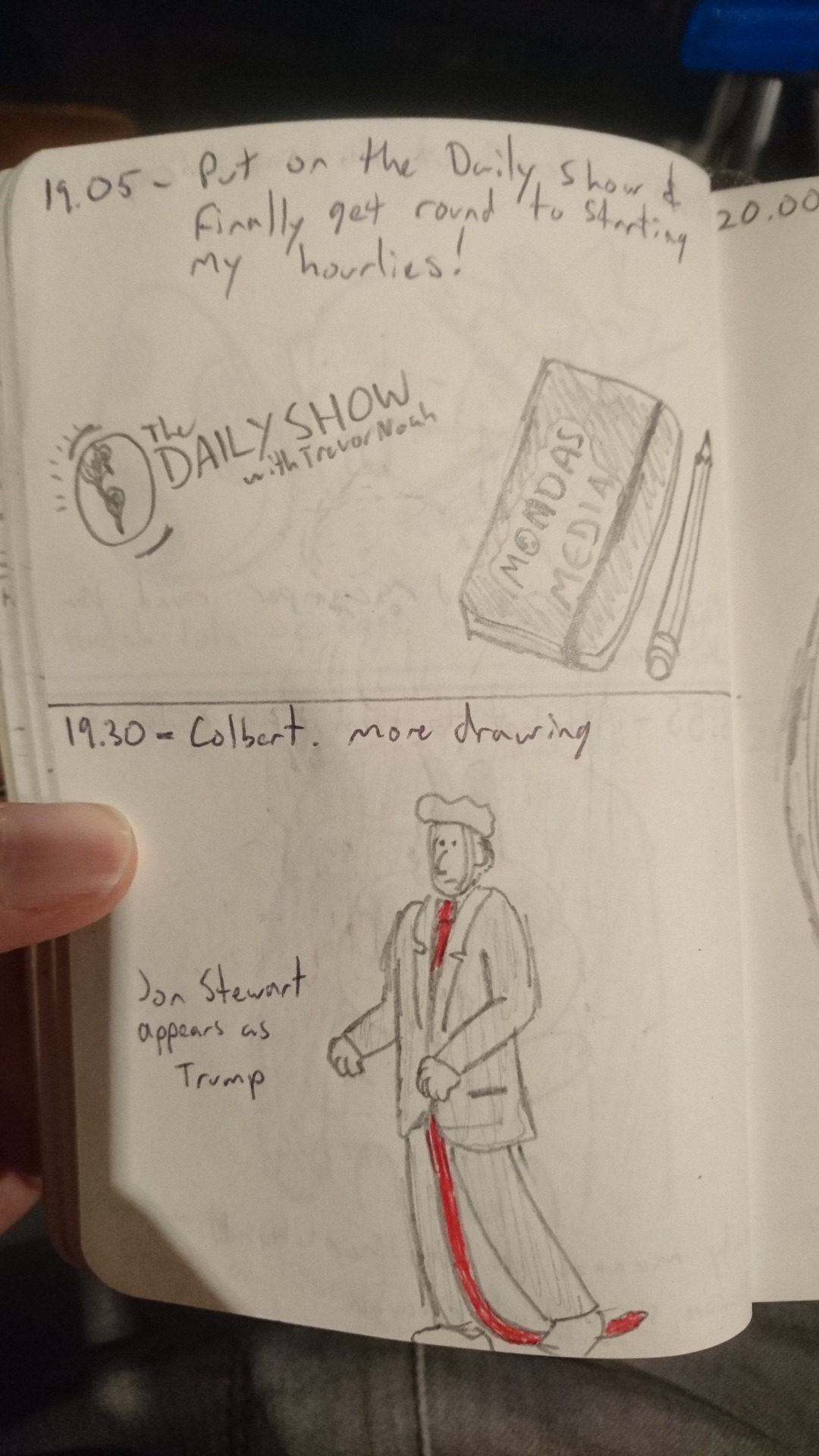 19:05:  Put on the Daily Show and finally get around to starting my hourlies!  19:30:  Colbert. More drawing. Jon Stewart appears as Trump.