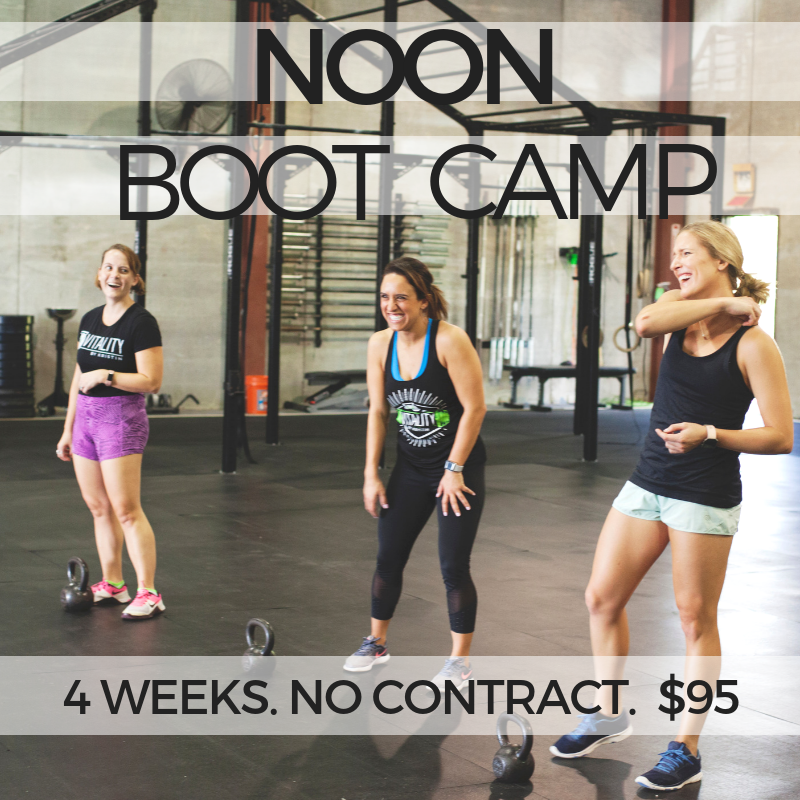 Hustle on that summer break - June 3rd-28thOur Noon Boot Camp is BACK for June! This program is 4 weeks long offering 30 minute noon classes Monday-Friday. If you're looking for a way to jump-start your new gym habit this bootcamp is for you! Open to new members this program is available with a no contract one time cost of $95. Commitment-phobes welcome!Our 30 minute VitalZone classes are made for the member with a busy schedule who knows that getting that heart rate up everyday is a great way to stay healthy and active. These classes are open to folks at all levels of fitness and will leave you energized for your day.Wanna try our program before you commit? Sign up for your free 3 day trial and consultation here. You'll meet with our head coach Kristin to discuss your goals and have a tour of our facility.