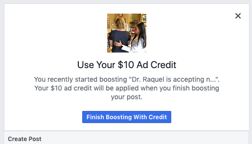 Here is the close-up view of that $10 Ad Credit - pretty enticing deal from Facebook.