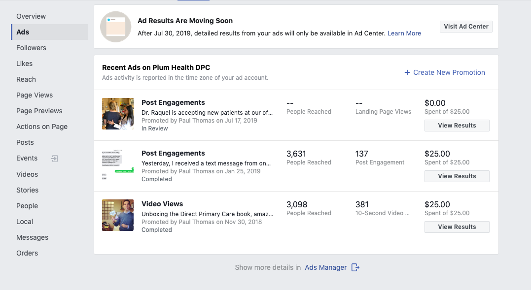 Once you log in to your Facebook for Business Account, you can see the results of the Ad and Ad Credit. It's too soon to see any results for this one, but for past $25 investments, I've reached about 3,000 new people and had 137 and 381 people engage with my content.
