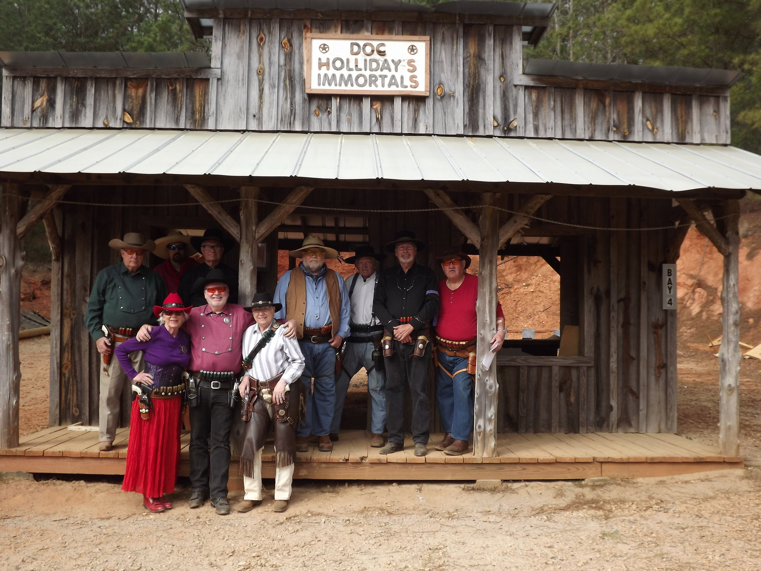 Front row l to r: Ophelia Payne, Fast Eddie and Witch Doctor. Back row l to r: Ironhorse Jim, Lighthorse Pete, Max Payne, Rowdy Ranger Rick, Pig Iron Lane, Cassalong Hopidy and Skeet Single Action