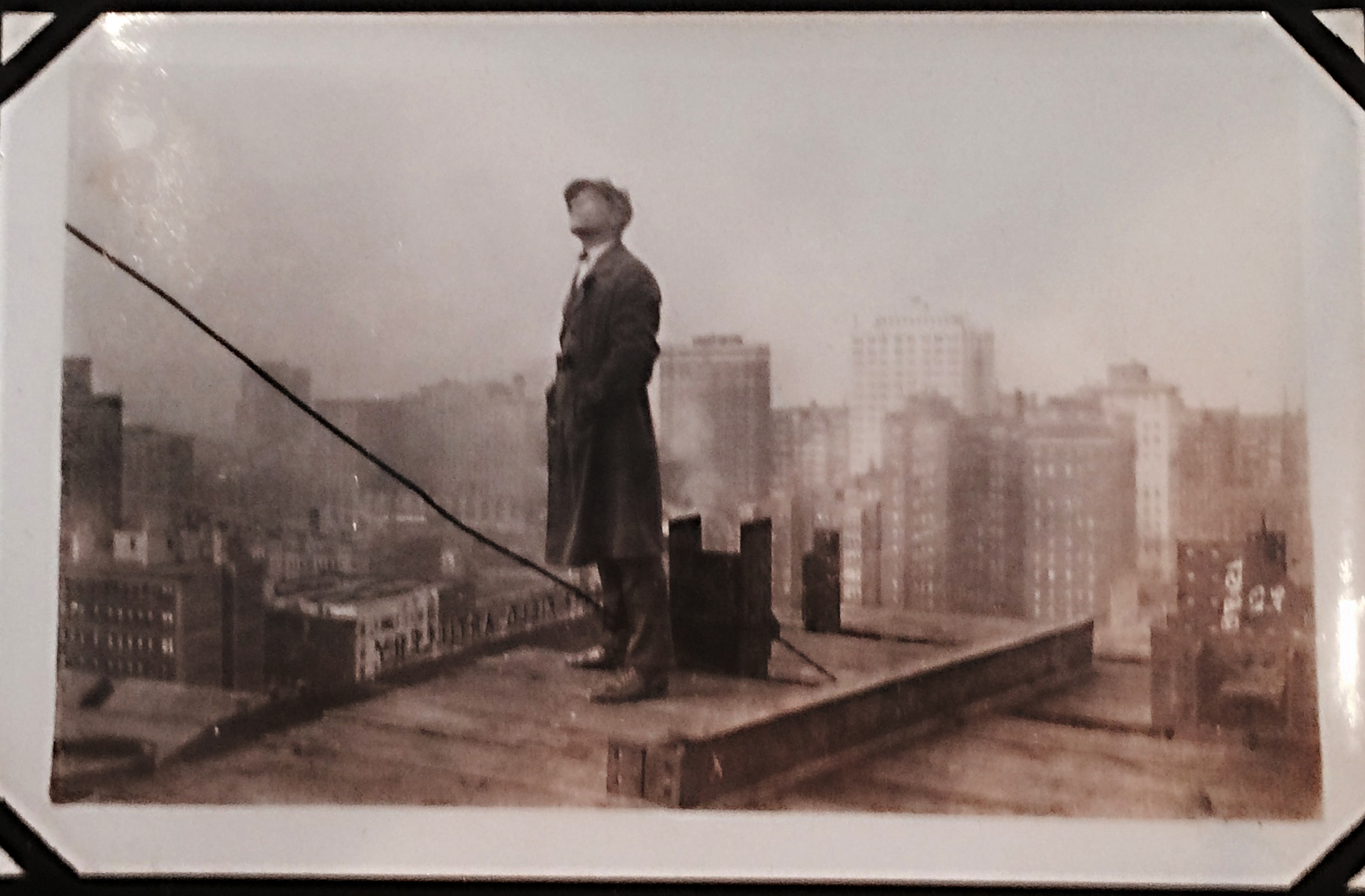 Looking SW up at tower while standing on the NE portion of the Ward building roof-circa 1925.