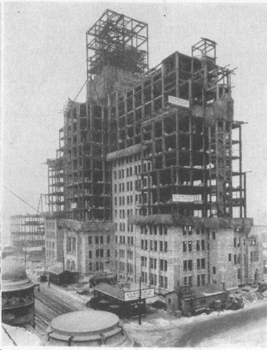 Montgomery Ward Memorial building under construction-circa 1925.
