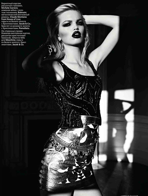 DAPHNE GROENEVELD WEARS CLAUDE MONTANA ARCHIVE AT HOL    for VOGUE Russia.    photography Hedi Slimane