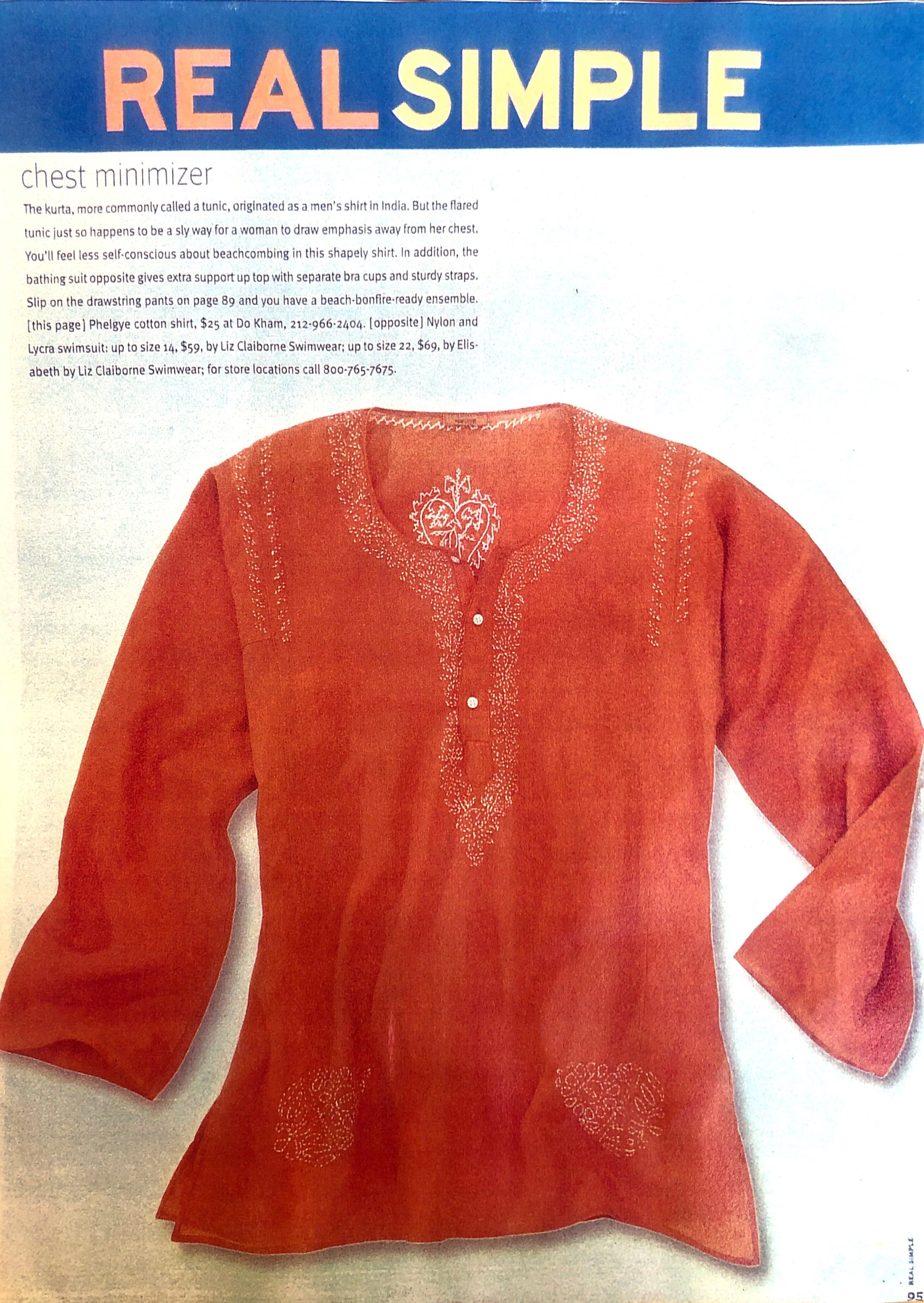Real Simple - Dö Kham classic cotton tunic featured in Real Simple Magazine