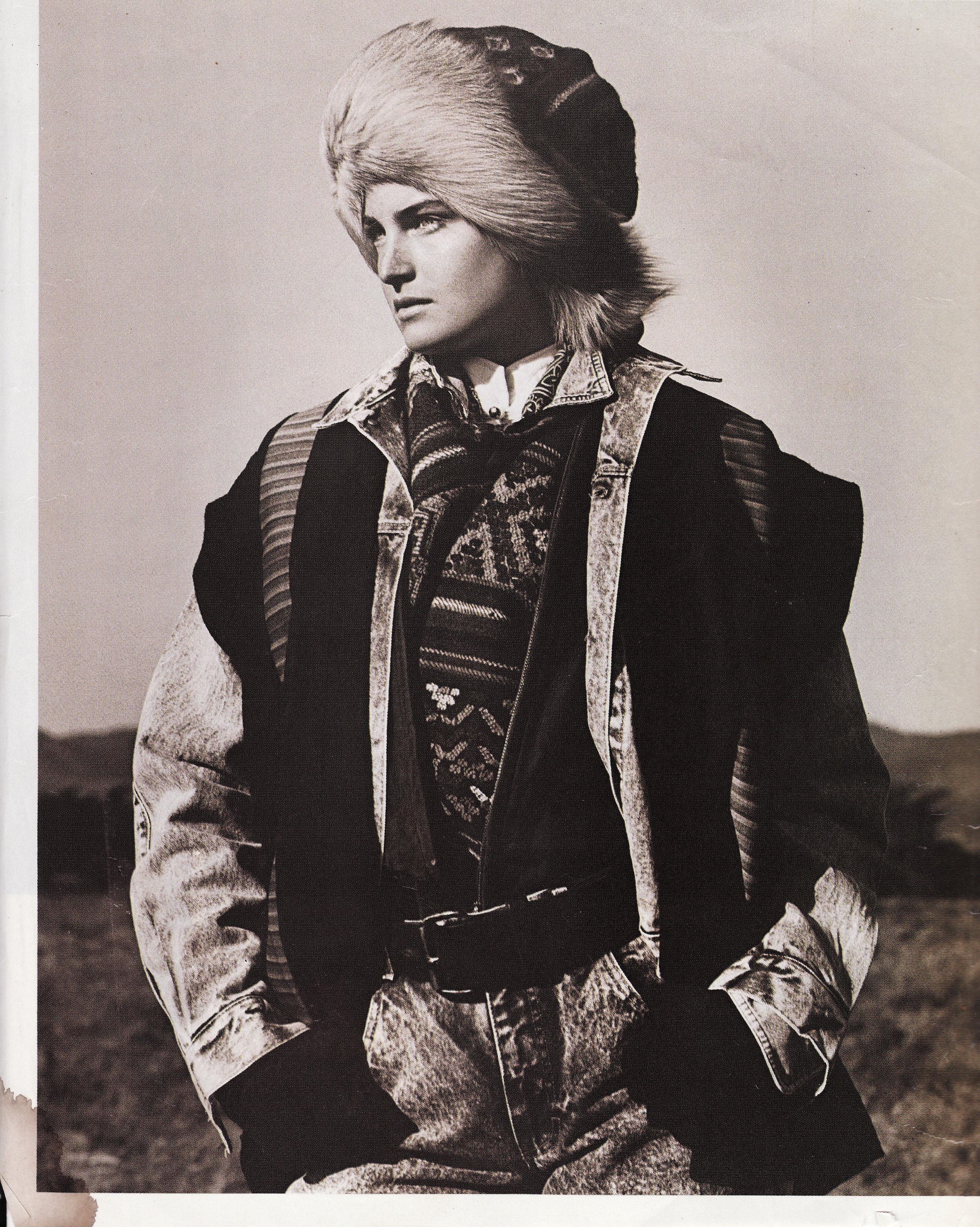 Elle Magazine - Dö Kham Tibetan Fox Fur Hat and Lama Vest featured in Calvin Klein's Winter Ad Campaign, Shot by Bruce Weber