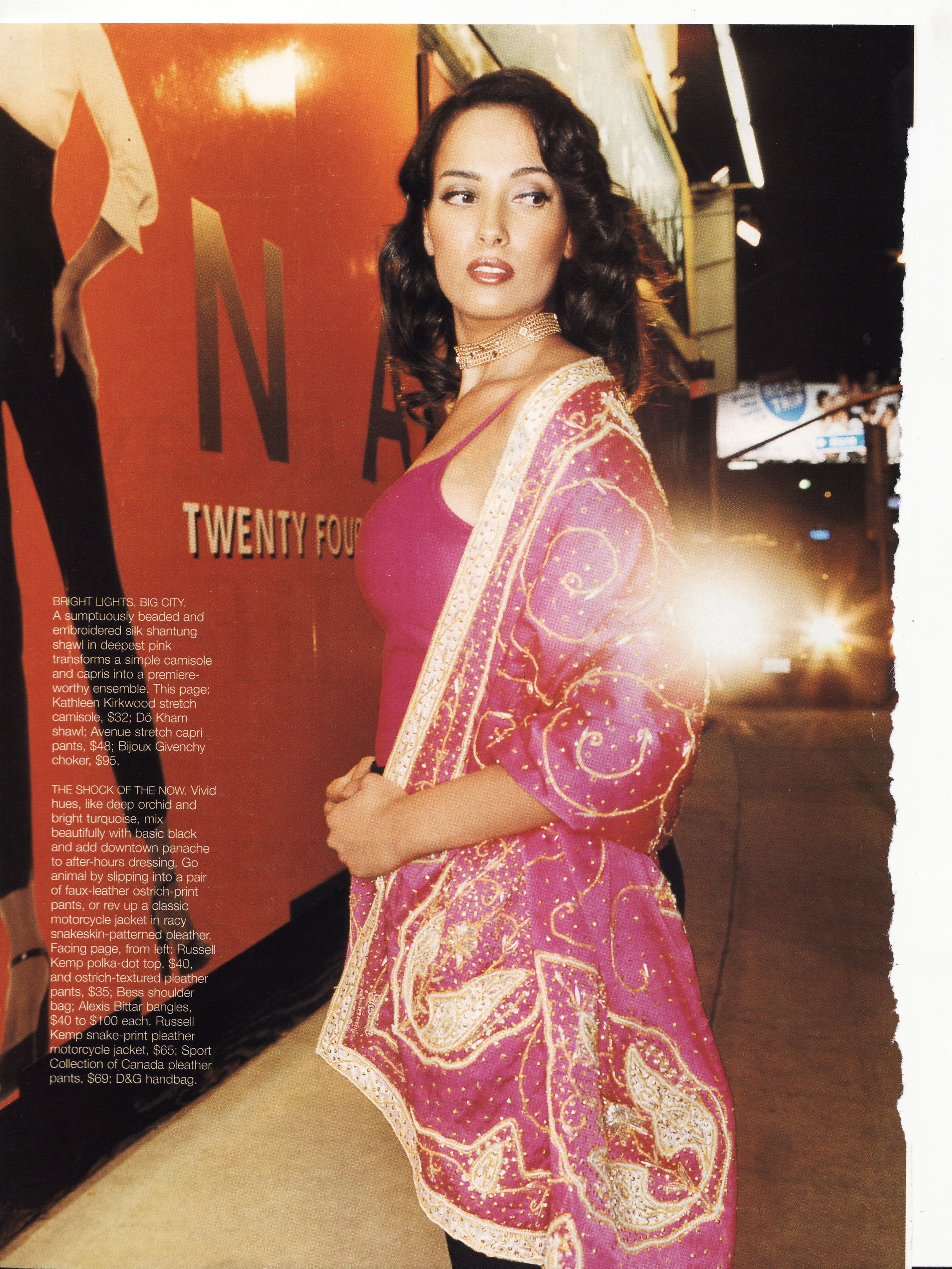 Jennifer Beals - One of our favorite customers, Jennifer Beals enjoying our hand embroidered silk shawl